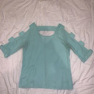 Teal Top with Geometric Slits